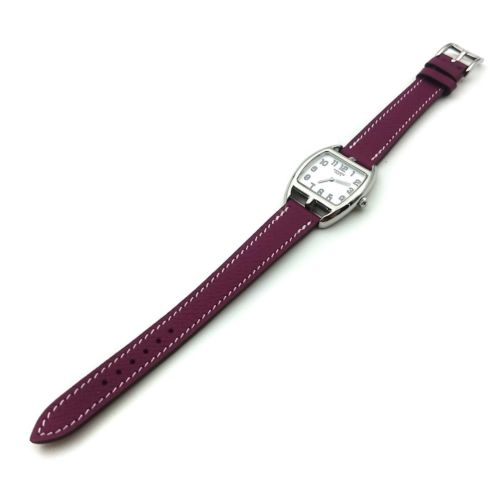 Cape Cod Tonneau Steel on Violet Epsom Leather Strap