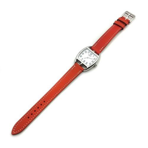 Cape Cod Tonneau Steel on Orange Epsom Leather Strap