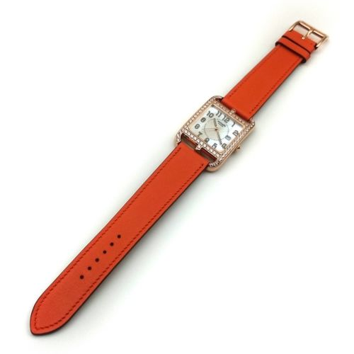 Cape Cod GM Quartz Rose Gold with Diamond Bezel on Orange Fjord Leather Strap