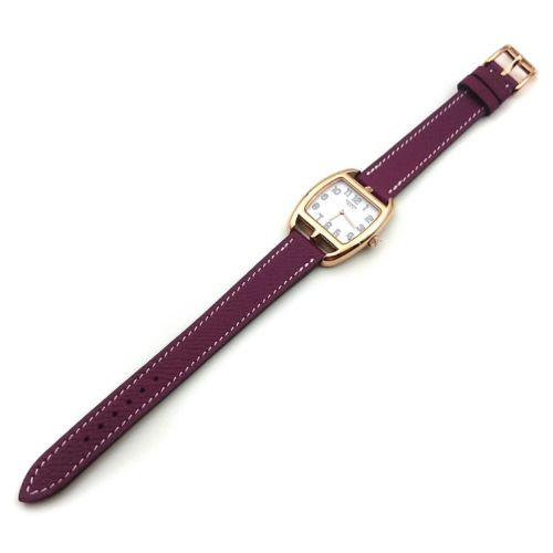 Cape Cod Tonneau Rose Gold on Violet Epsom Leather Strap