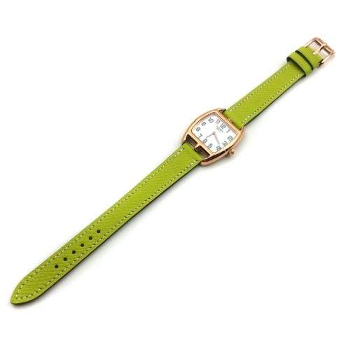 Cape Cod Tonneau Rose Gold on Green Epsom Leather Strap