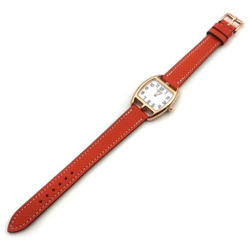 Cape Cod Tonneau Rose Gold on Orange Epsom Leather Strap