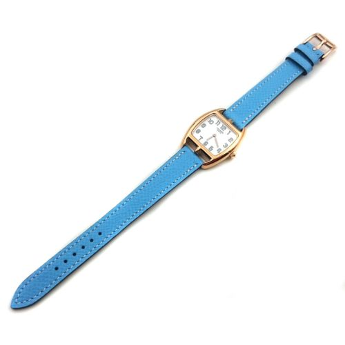 Cape Cod Tonneau Rose Gold on Light Blue Epsom Leather Strap