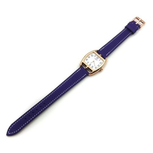 Cape Cod Tonneau Rose Gold on Purple Epsom Leather Strap