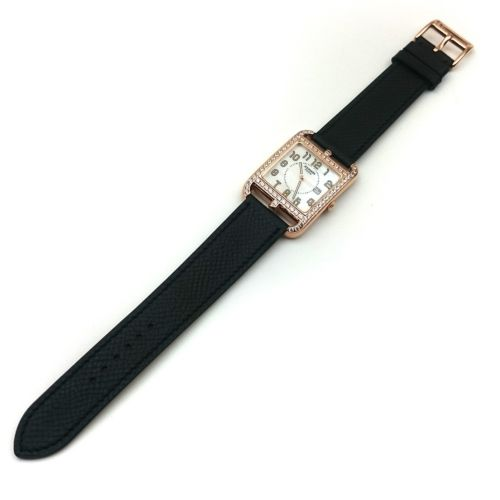 Cape Cod GM Quartz Rose Gold with Diamond Bezel on Black Epsom Leather Strap