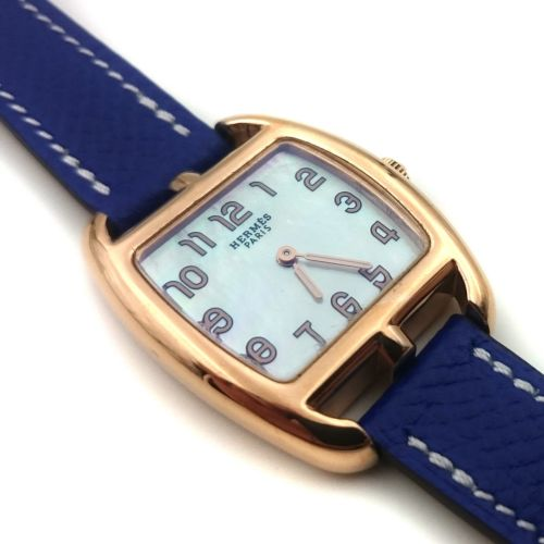 Cape Cod Tonneau Rose Gold on Blue Epsom Leather Strap
