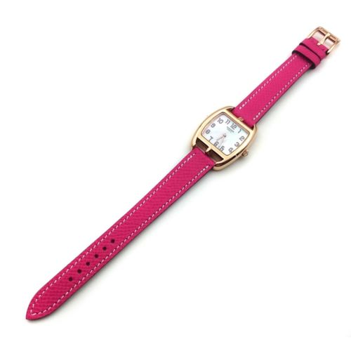 Cape Cod Tonneau Rose Gold on Pink Epsom Leather Strap
