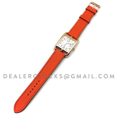 Cape Cod GM Quartz Rose Gold on Orange Fjord Leather Strap