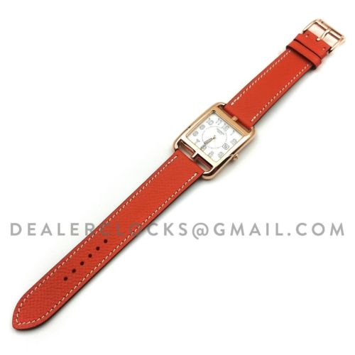 Cape Cod GM Quartz Rose Gold on Orange Epsom Leather Strap