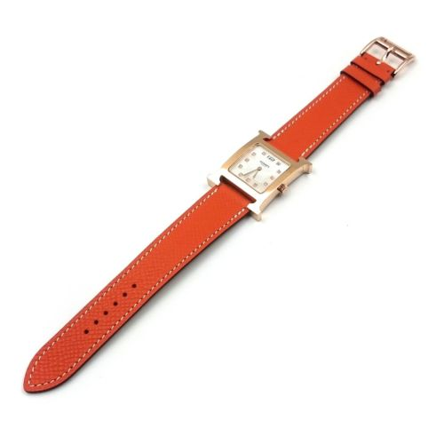 Heure H Rose Gold with Diamond Markers on Orange Epsom Leather Strap