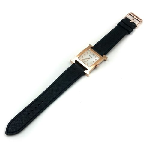 Heure H Rose Gold with Diamond Markers on Black Epsom Leather Strap