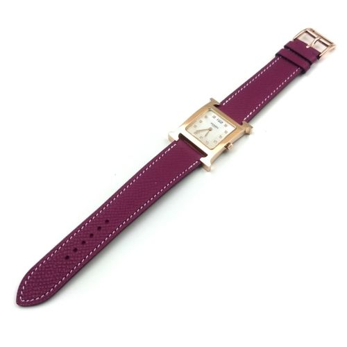 Heure H Rose Gold with Diamond Markers on Violet Epsom Leather Strap