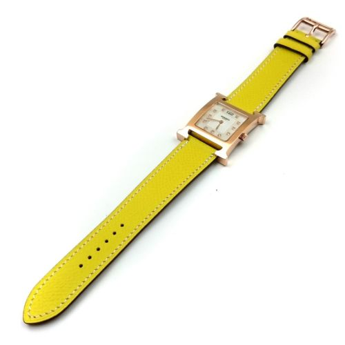 Heure H Rose Gold with Diamond Markers on Yellow Epsom Leather Strap