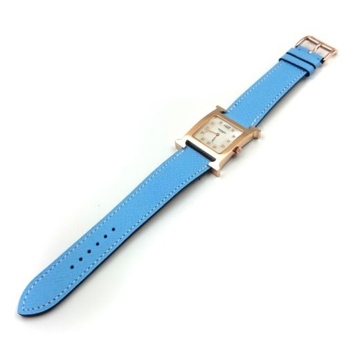 Heure H Rose Gold with Diamond Markers on Light Blue Epsom Leather Strap
