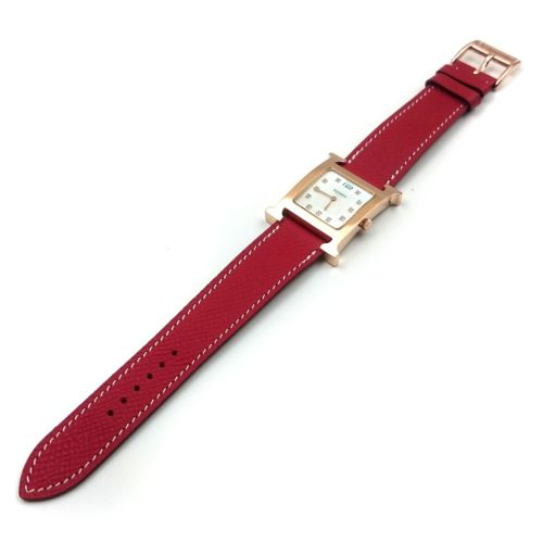 Heure H Rose Gold with Diamond Markers on Red Epsom Leather Strap