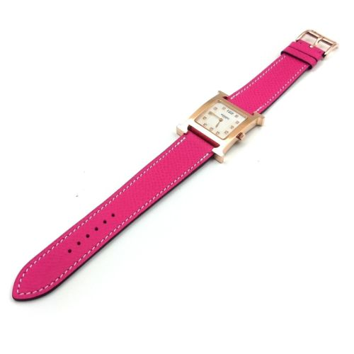 Heure H Rose Gold with Diamond Markers on Pink Epsom Leather Strap