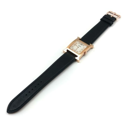 Heure H Rose Gold with Diamond Markers on Black Fjord Leather Strap