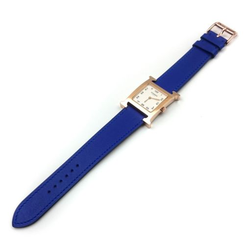 Heure H Rose Gold on Blue Fjord Leather Strap