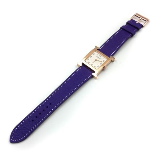 Heure H Rose Gold on Purple Epsom Leather Strap