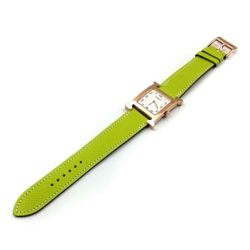 Heure H Rose Gold on Green Epsom Leather Strap