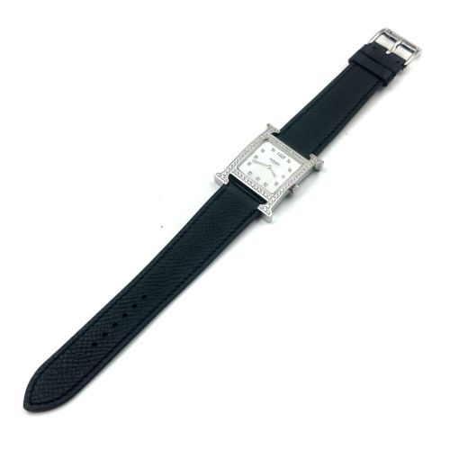 Heure H Steel with Diamond Bezel and Markers on Black Epsom Leather Strap