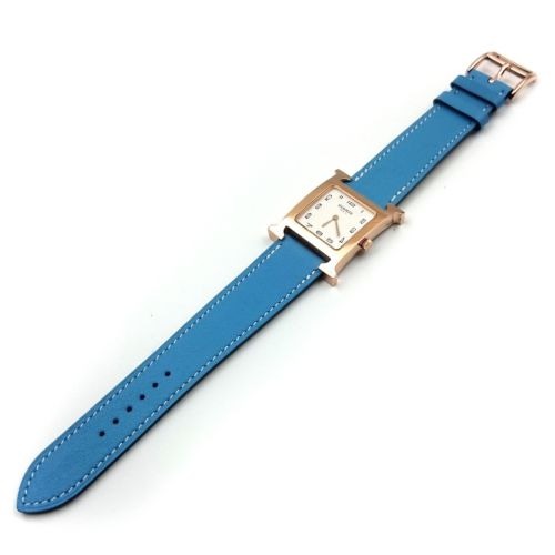 Heure H Rose Gold on Light Blue Fjord Leather Strap