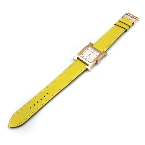 Heure H Rose Gold on Yellow Epsom Leather Strap