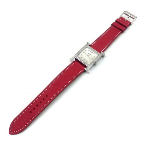 Heure H Steel with Diamond Bezel and Markers on Red Epsom Leather Strap