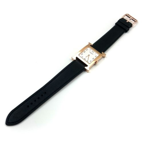 Heure H Rose Gold on Black Fjord Leather Strap
