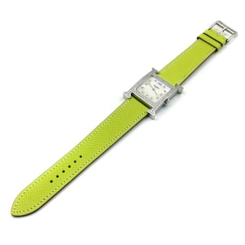 Heure H Steel with Diamond Bezel and Markers on Green Epsom Leather Strap