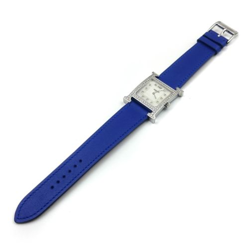 Heure H Steel with Diamond Bezel and Markers on Blue Fjord Leather Strap