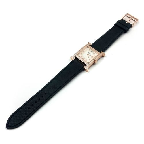 Heure H Rose Gold with Diamond Bezel and Markers on Black Epsom Leather Strap