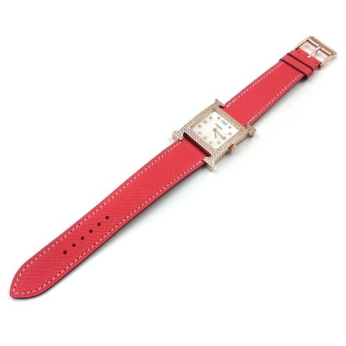 Heure H Rose Gold with Diamond Bezel and Markers on Vermilion Epsom Leather Strap