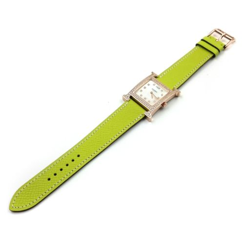 Heure H Rose Gold with Diamond Bezel and Markers on Green Epsom Leather Strap