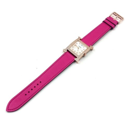 Heure H Rose Gold with Diamond Bezel and Markers on Pink Fjord Leather Strap