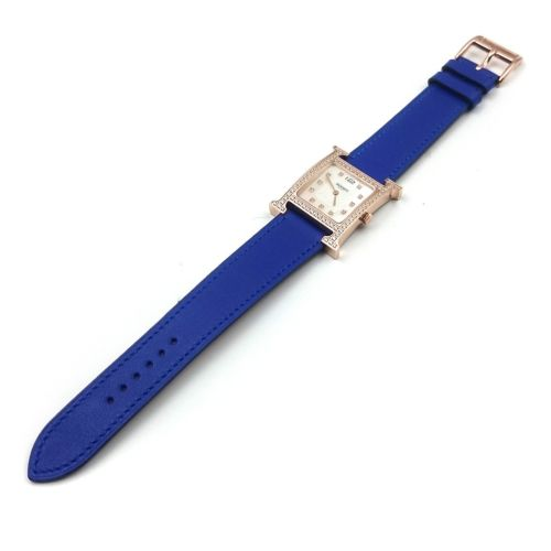 Heure H Rose Gold with Diamond Bezel and Markers on Blue Epsom Leather Strap