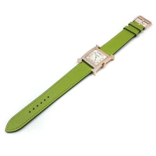 Heure H Rose Gold with Diamond Bezel and Markers on Green Fjord Leather Strap
