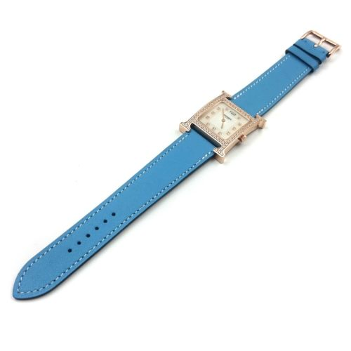 Heure H Rose Gold with Diamond Bezel and Markers on Light Blue Fjord Leather Strap