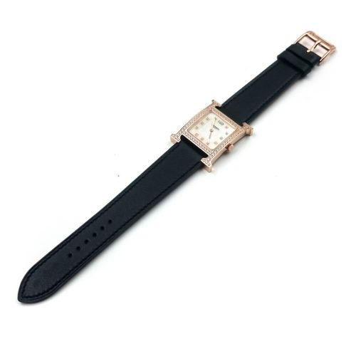 Heure H Rose Gold with Diamond Bezel and Markers on Black Fjord Leather Strap