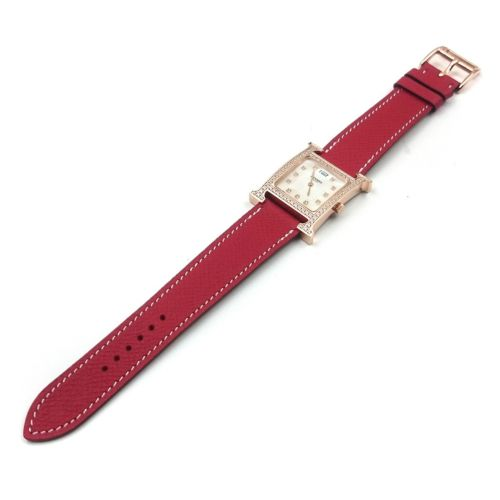 Heure H Rose Gold with Diamond Bezel and Markers on Red Epsom Leather Strap
