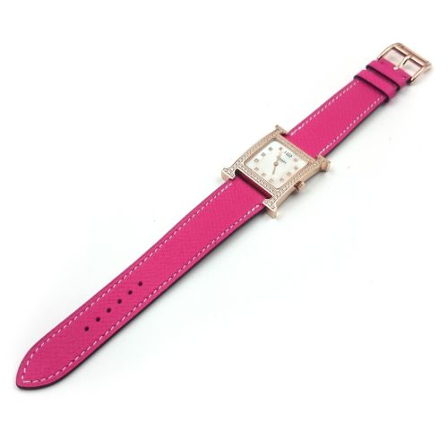 Heure H Rose Gold with Diamond Bezel and Markers on Pink Epsom Leather Strap