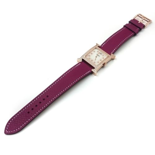 Heure H Rose Gold with Diamond Bezel and Markers on Violet Epsom Leather Strap