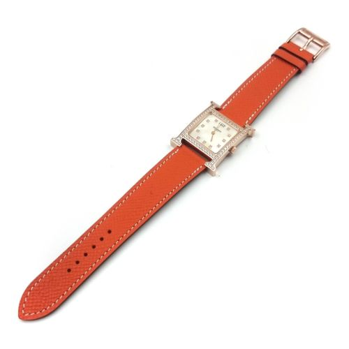 Heure H Rose Gold with Diamond Bezel and Markers on Orange Epsom Leather Strap