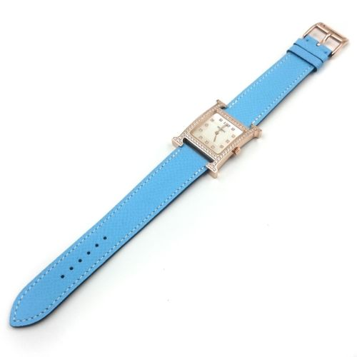Heure H Rose Gold with Diamond Bezel and Markers on Light Blue Epsom Leather Strap