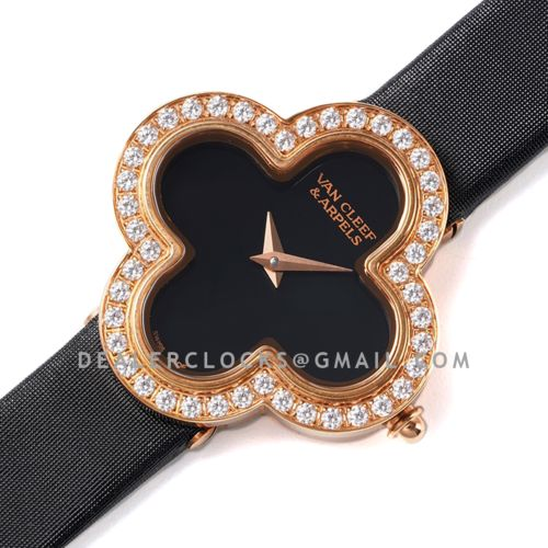 Alhambra Watch 30.2mm Black Dial in Rose Gold