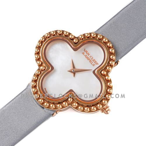 Alhambra Watch 30.2mm MOP Dial in Rose Gold in Grey Strap