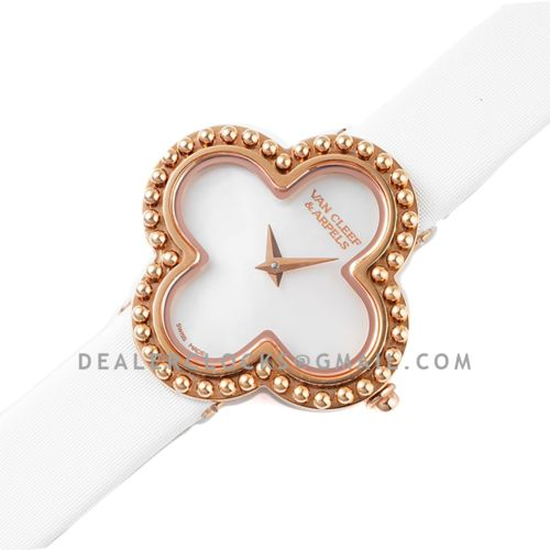 Alhambra Watch 30.2mm MOP Dial in Rose Gold in White Strap