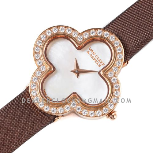 Alhambra Watch 30.2mm MOP Dial in Rose Gold with Diamond in Brown Strap