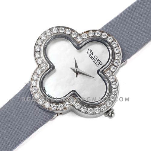 Alhambra Watch 30.2mm MOP Dial in Steel with Diamond on Grey Strap