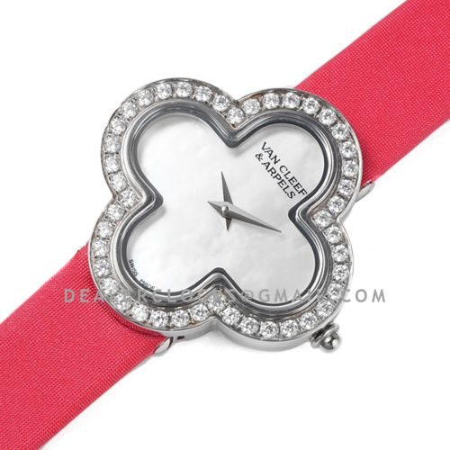 Alhambra Watch 30.2mm MOP Dial in Steel with Diamond on Pink Strap